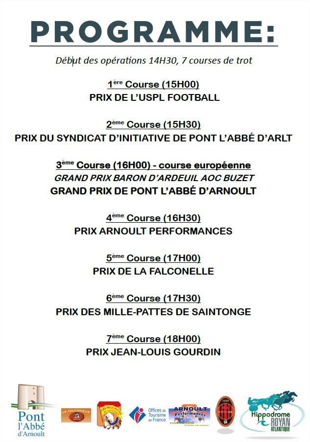 """Programme de la """"Journée de Pont l'Abbé d'Arnoult"""""""